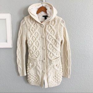 INC Chunky Knit Long Fleece Lined Cardigan
